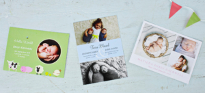 A selection of Sleepymoon birth announcement cards banner image
