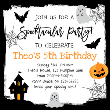 Halloween party invitation featuring pumpkins and bats
